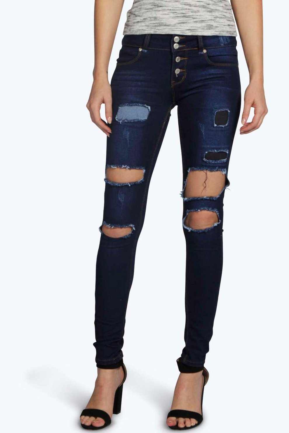 a2f4a561884f Womens Dark blue Eve Low Rise Rip Patch Distressed Skinny Jeans