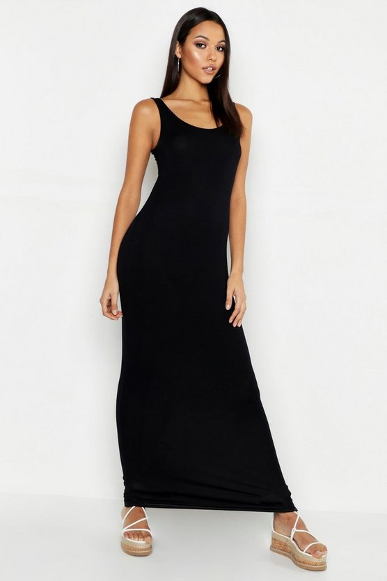 Womens Black Tall Basic Maxi Dress