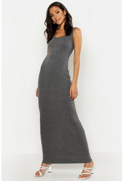 Womens Charcoal Tall Basic Maxi Dress