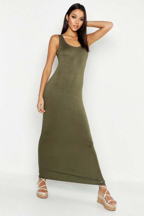 Womens Khaki Tall Basic Maxi Dress