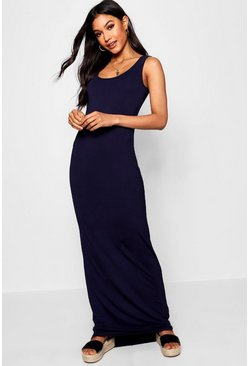 Womens Navy Tall Basic Maxi Dress