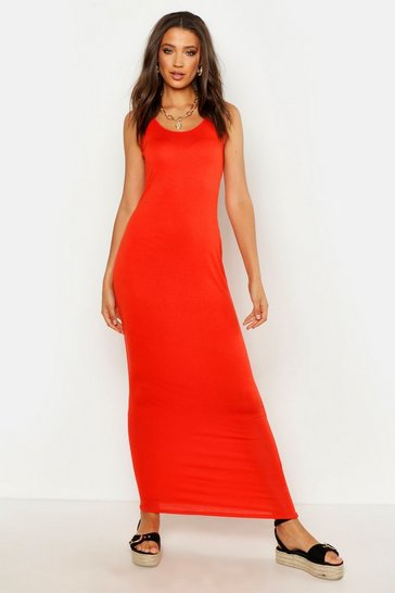 Womens Orange Tall Basic Maxi Dress
