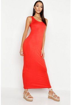 Womens Red Tall Basic Maxi Dress