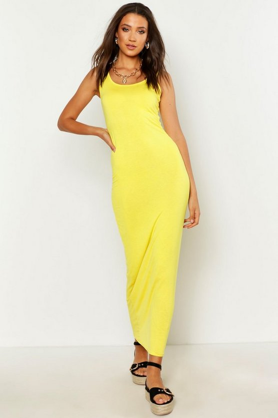 Tall robe maxi basique, Yellow, Femme