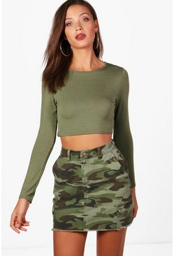 Crop top à manches longues Tall, Kaki