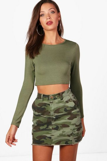 Womens Khaki Tall Long Sleeve Crop Top