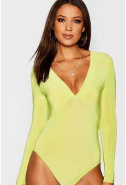 Lime Tall Plunge Long Sleeve Slinky Bodysuit