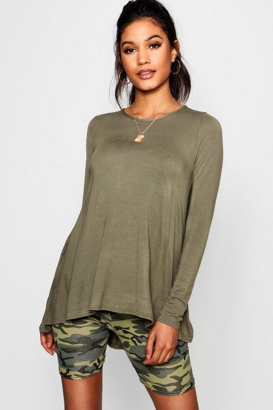 Womens Khaki Tall Long Sleeve Basic Swing Tee