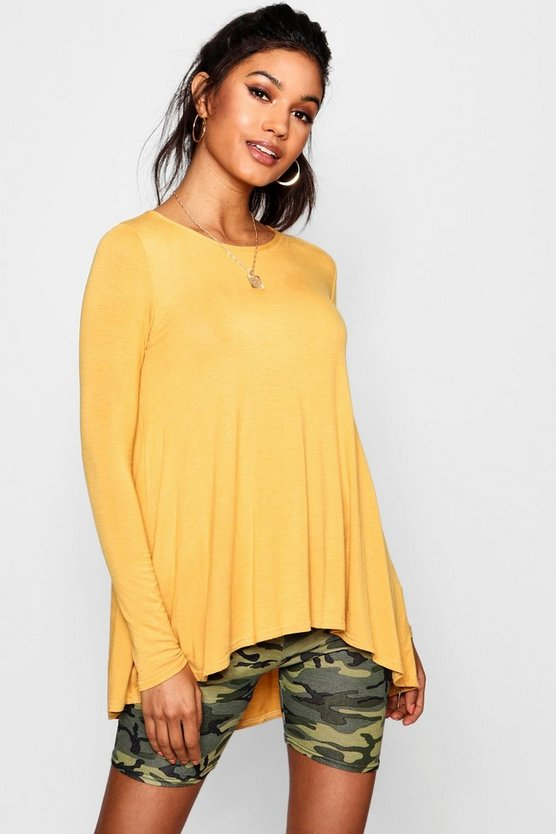 Womens Mustard Tall Long Sleeve Basic Swing Tee