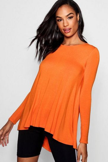 Womens Orange Tall Long Sleeve Basic Swing Tee
