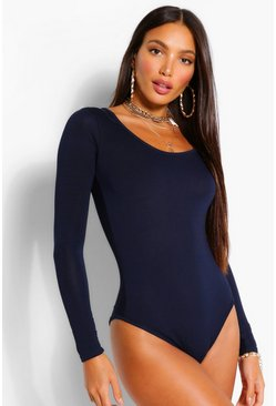 Navy Tall Long Sleeve Basic Bodysuit