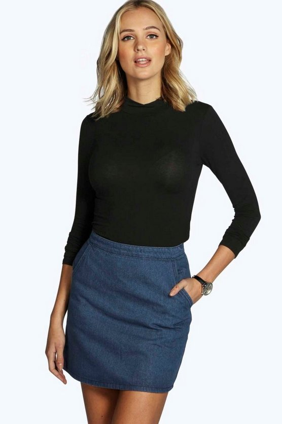 Womens Black Tall Laura Long Sleeve Roll Neck Top