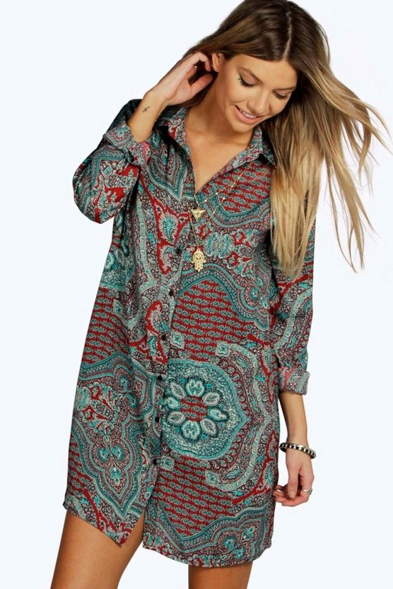 Womens Red Dora Paisley Pleat Back Shirt Dress