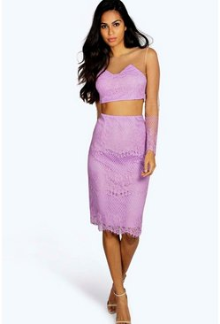 Womens Lilac Sophia Eyelash Lace Mini Skirt