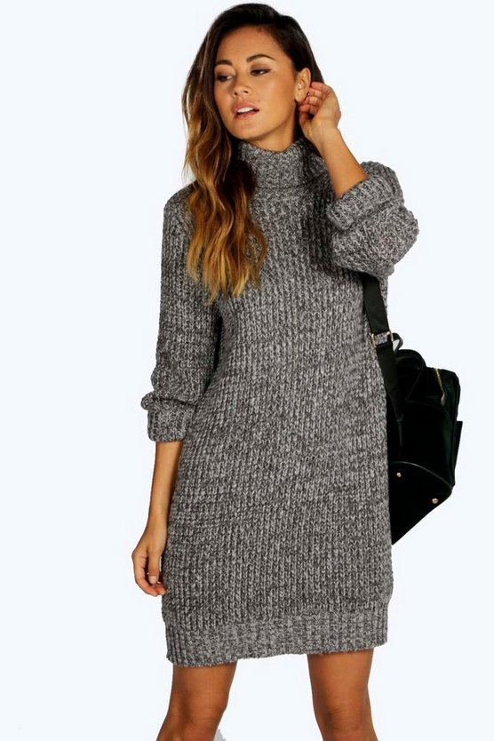 Womens Grey Roll Neck Marl Jumper Dress