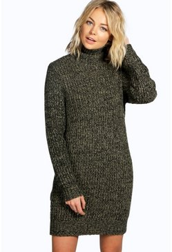 Womens Khaki Roll Neck Marl Jumper Dress