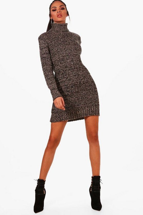 Roll Neck Marl Jumper Dress