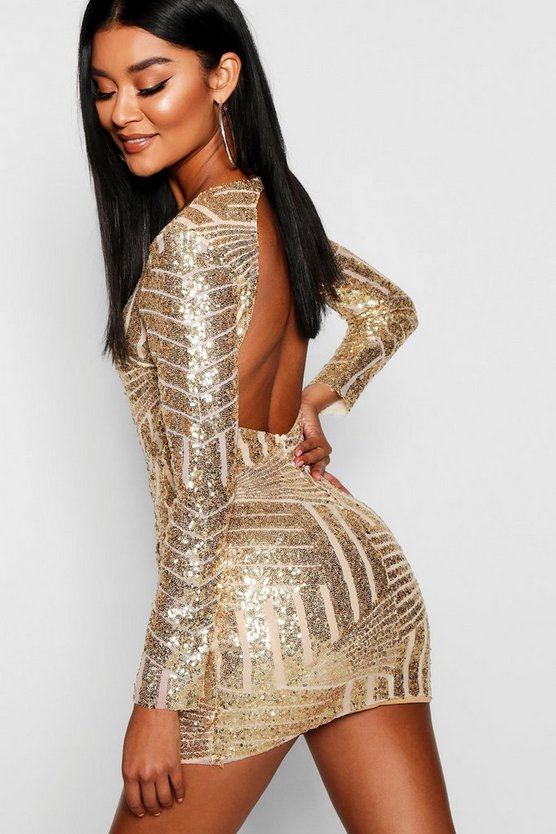 Womens Gold Boutique  Sequin Open Back Bodycon Dress