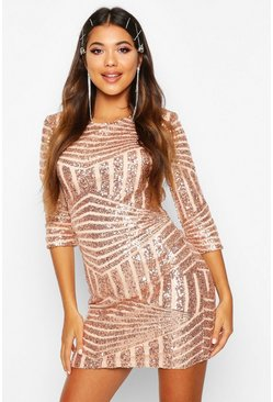 Womens Rose gold Boutique  Sequin Bodycon Dress