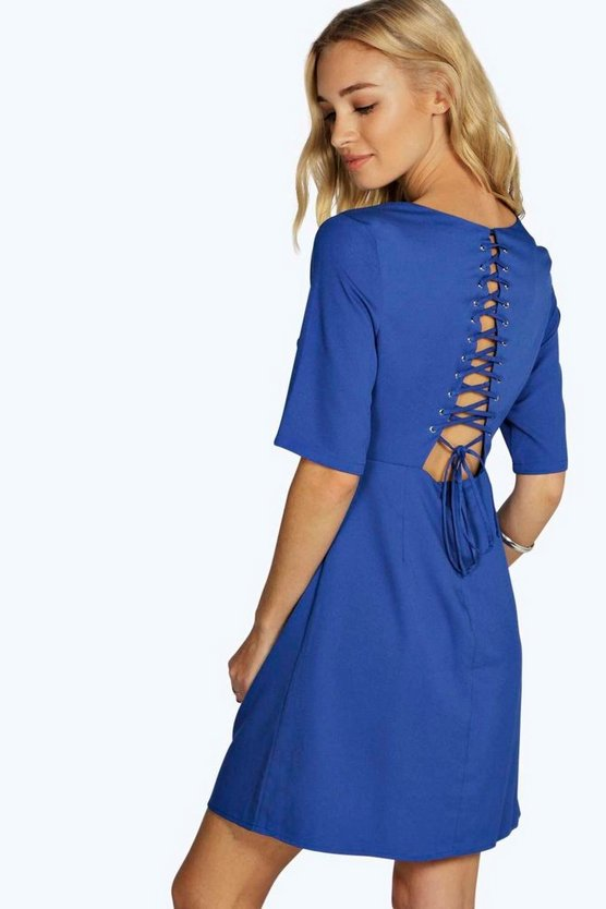 Lavinya Lace Up Back Detail Skater Dress