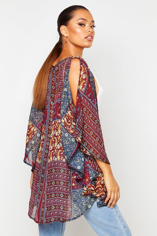 bohemio Multicolor estampado Kimono con kylie q8BYxXw