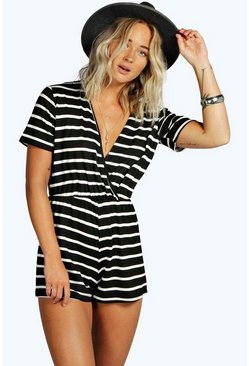 Womens Black Wrap Front Capped Sleeve Striped Playsuit