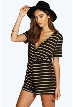 Camel Wrap Front Capped Sleeve Striped Playsuit