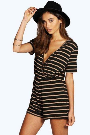 Womens Camel Wrap Front Capped Sleeve Striped Playsuit