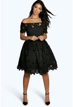 Black Boutique Off Shoulder Lace Skater Dress
