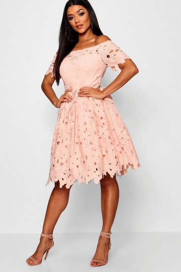 Blush Boutique Off Shoulder Lace Skater Dress