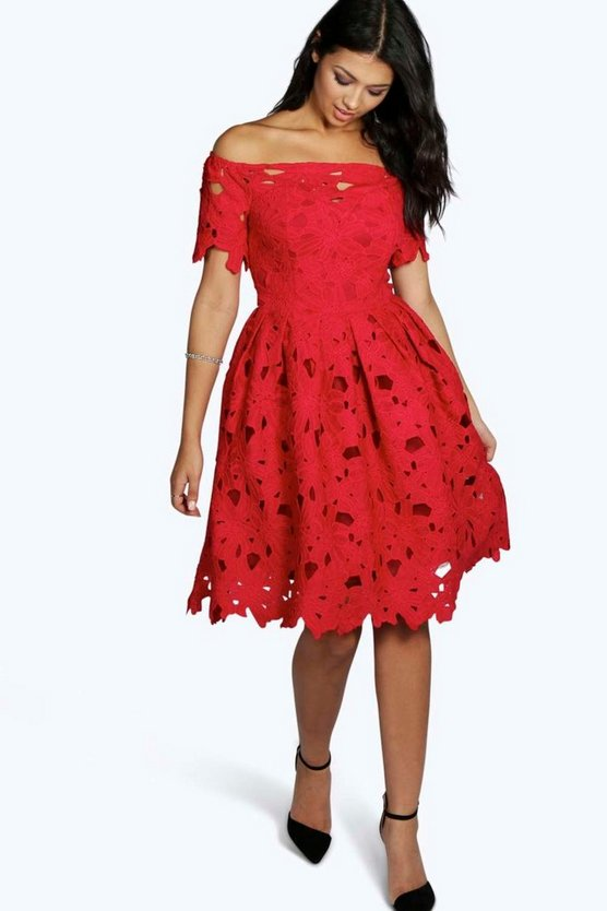 Womens Red Boutique Off Shoulder Lace Skater Dress
