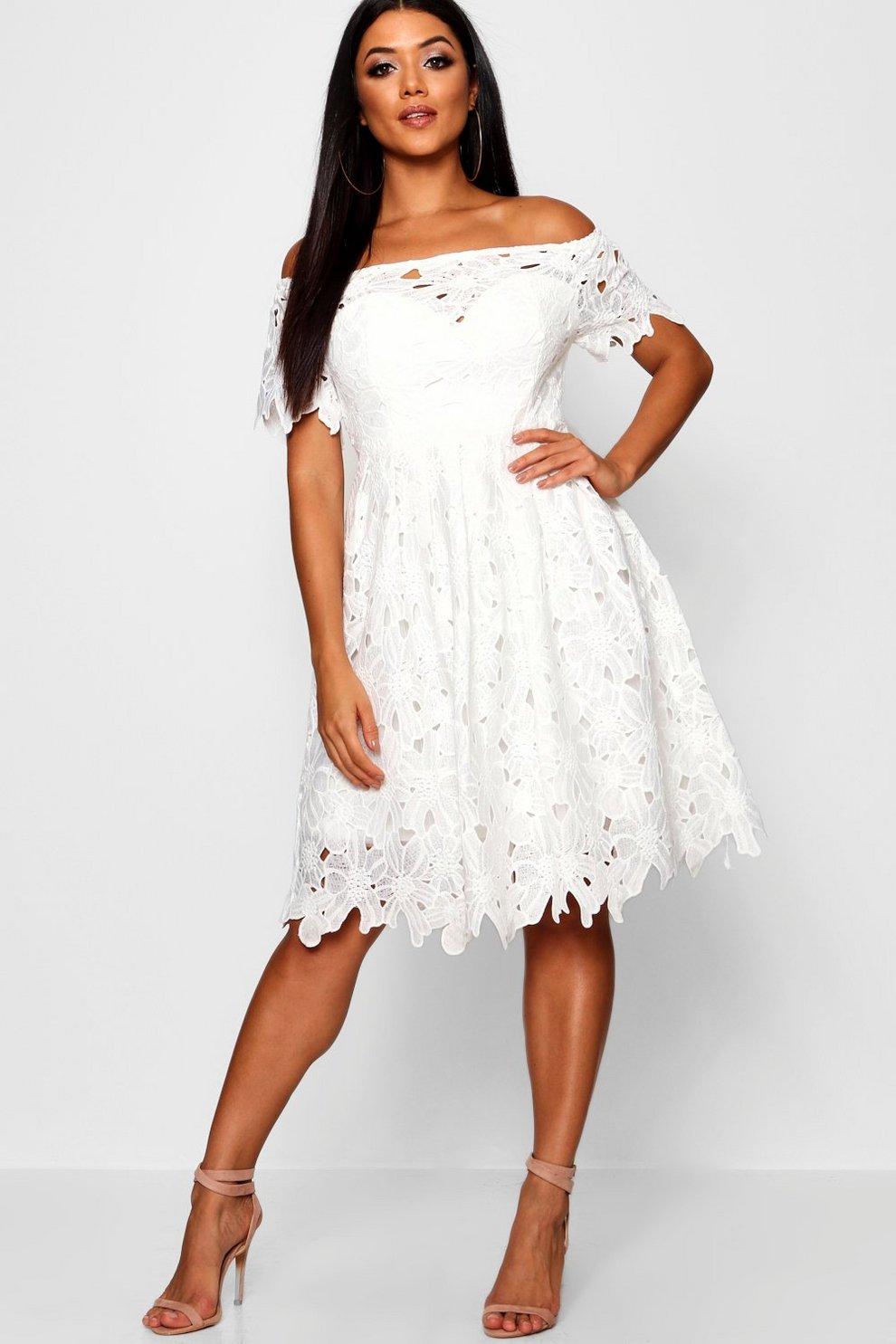 578a6baf90d6b Boutique Off Shoulder Lace Skater Dress