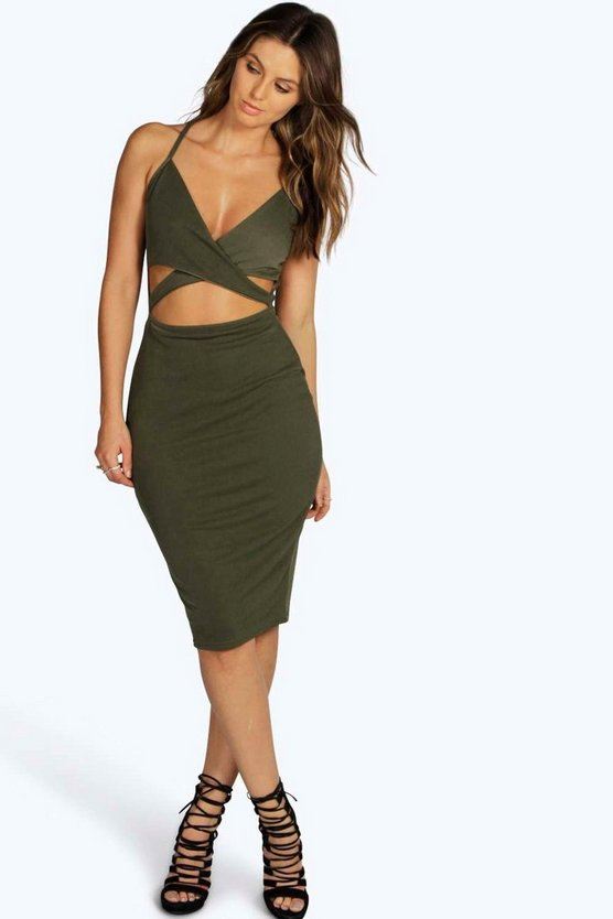 Womens Khaki Dia Strappy Cross Front Midi Bodycon Dress