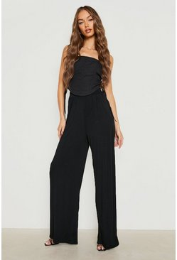 Womens Black Basic Pin Tuck Soft Tailored Wide Leg Trousers