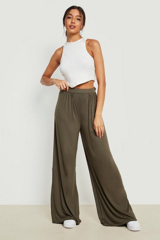 Basic Pin Tuck Soft Tailored Wide Leg Trousers
