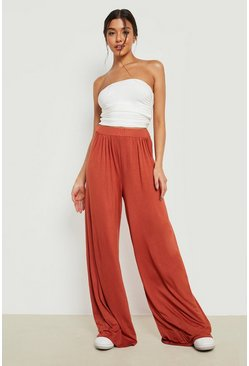 Womens Rust Basic Pin Tuck Soft Tailored Wide Leg Trousers