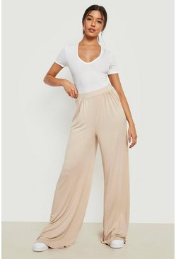 Sand Basic Pin Tuck Soft Tailored Wide Leg Trousers