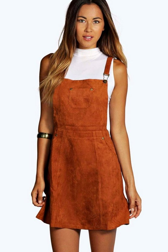 Womens Rust Suedette Pinafore Dress