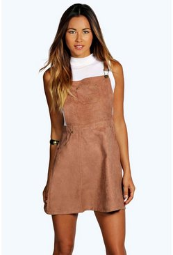 Womens Tan Suedette Pinafore Dress