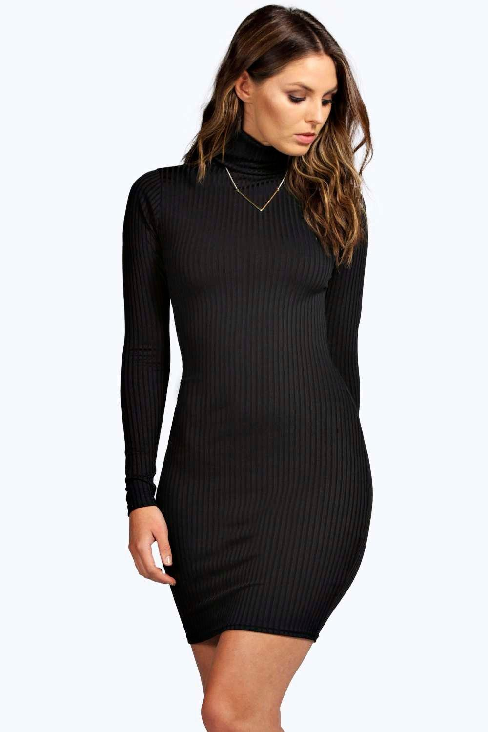 985ddf770adf Hannah Ribbed High Neck Bodycon Dress. Hover to zoom
