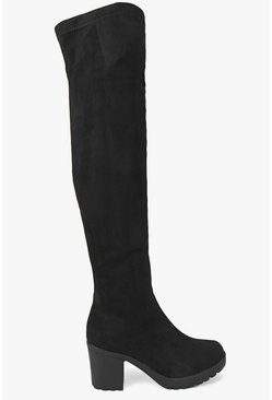 Womens Black Stretch Over Knee Cleated Boots