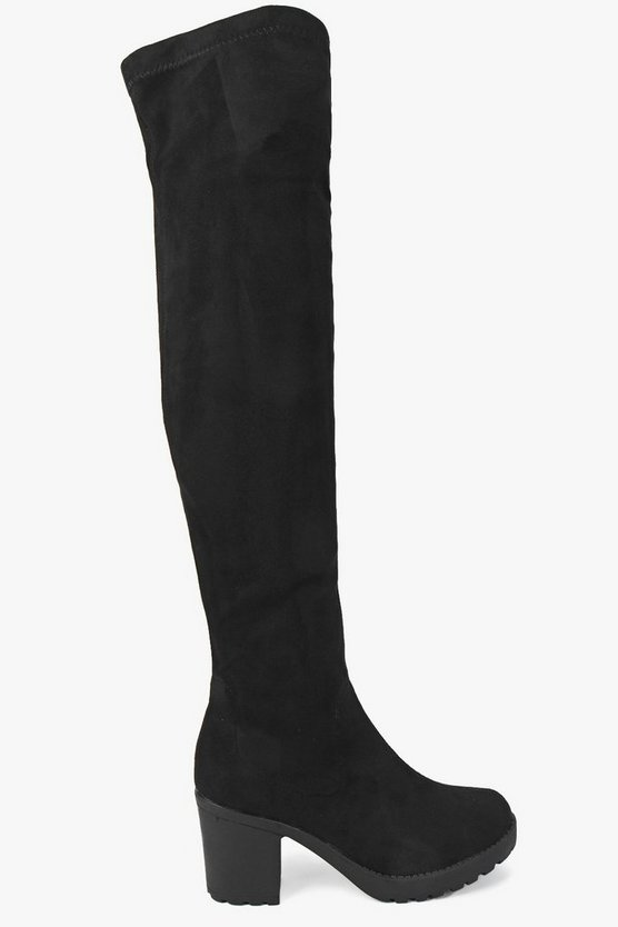 Stretch Over Knee Cleated Boots
