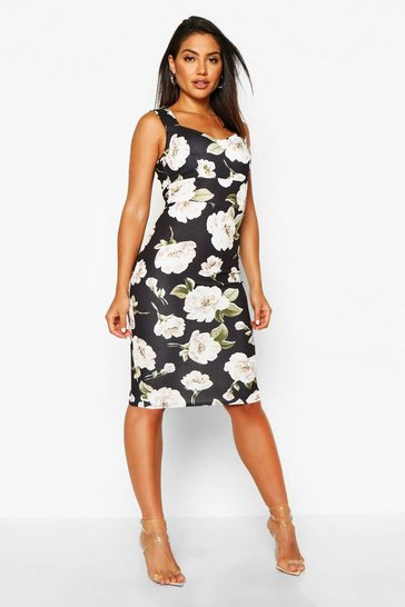 Womens Black Floral Sweetheart Midi Dress