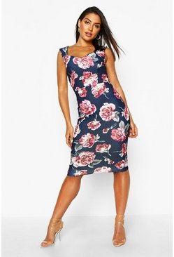 Womens Navy Floral Sweetheart Midi Dress