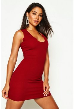 Womens Berry Scalloped Edge Bodycon Dress