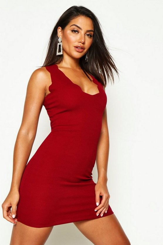 Scalloped Edge Bodycon Dress