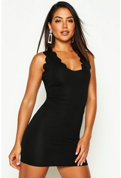 Womens Black Scalloped Edge Bodycon Dress