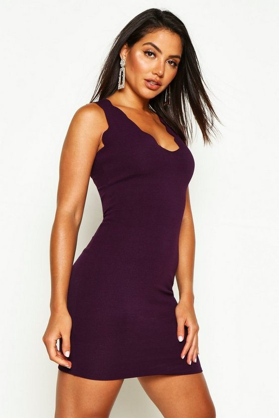 Womens Plum Scalloped Edge Bodycon Dress