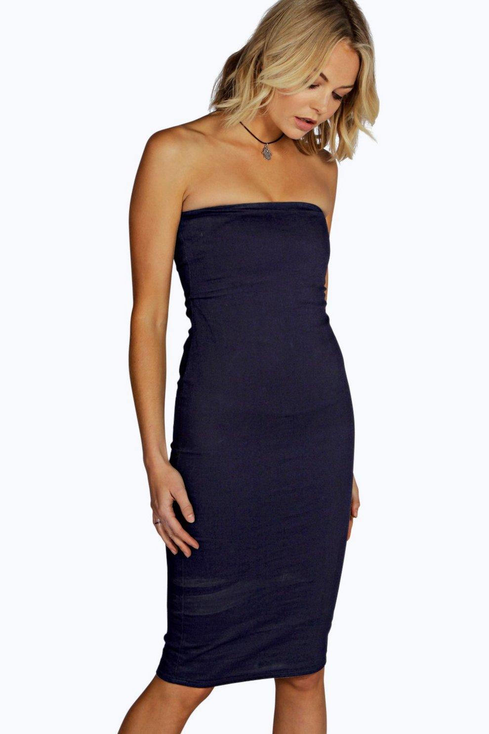9c0beb433243 Katie Denim Bandeau Bodycon Dress | Boohoo
