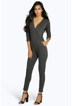 Wendy Wrap Front Self Belt Relaxed Jumpsuit, Угольный, Женские